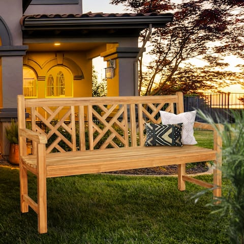Seven Seas Teak Saint Thomas Outdoor Teak Wood Patio Bench, 5 Foot