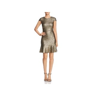 MICHAEL Michael Kors Womens Flounce Dress Short Sleeves Knee-Length