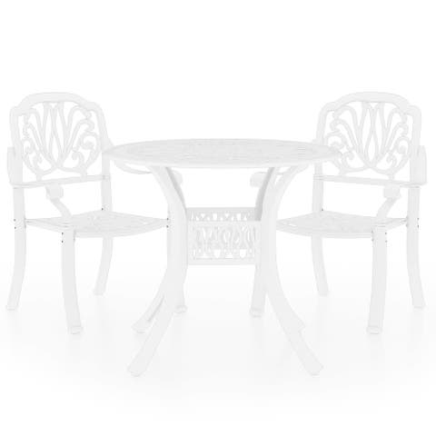vidaXL 3 Piece Bistro Set Cast Aluminum White