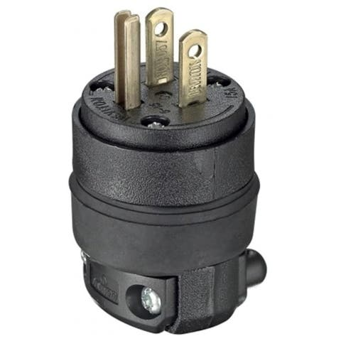 Leviton 15 Amp Blackcommercial Grade Heavy Duty Straight Blade Rubber Plug 000-5