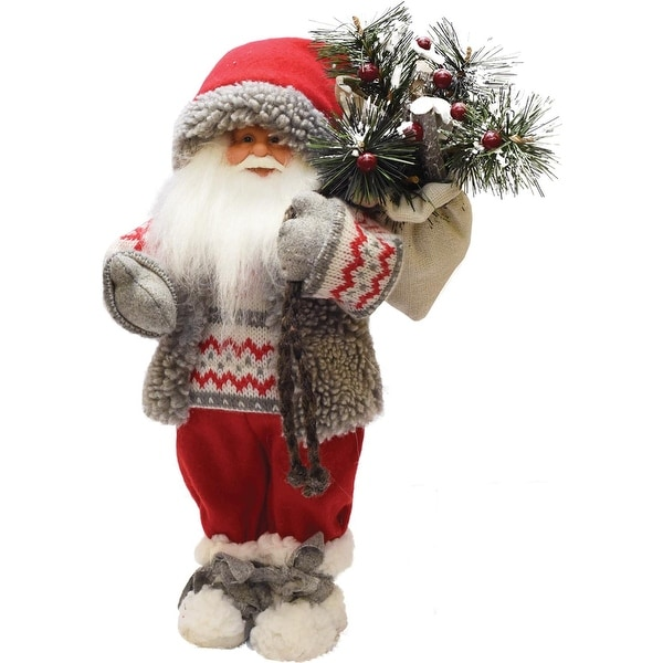 """12.5"""" Santa in Winter Vest with Sack of Pine Christmas Figure Decoration - WHITE"""