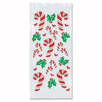 """Club Pack of 300 Christmas Candy Cane and Holly Cello Bags 4"""" x 9"""" - RED"""