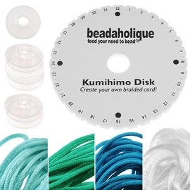 Kumihimo Braiding Kit 'Ocean Mix'- Round Disc / Bobbins / 4 Color Satin 1mm Cord