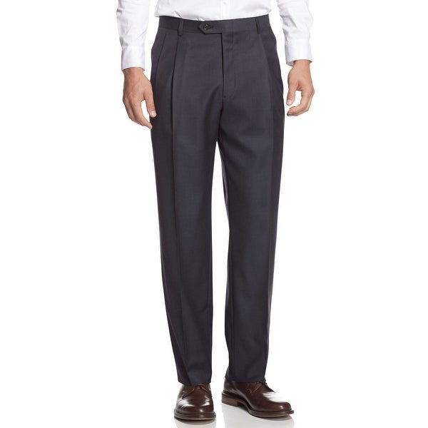 Berle Milan Super 100s Worsted Wool Pleated Front Dress Pants Charcoal 30