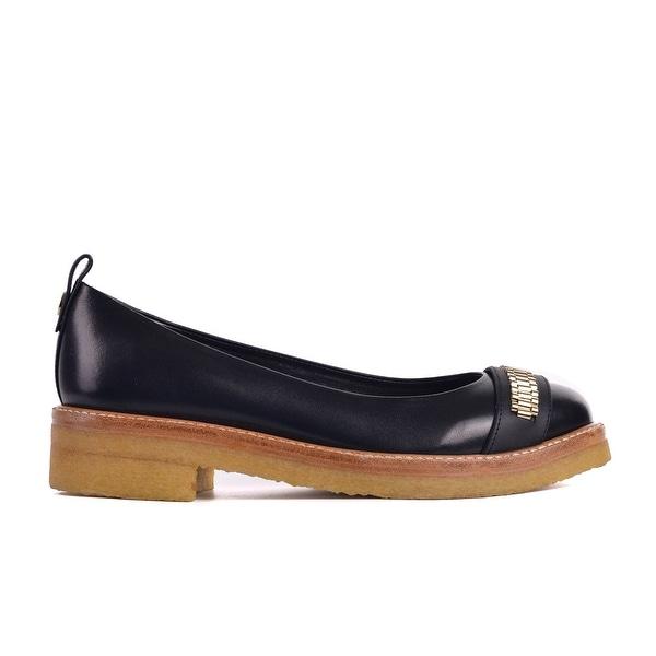 020573ca164c Shop Lanvin Paris Women s black Calf leather Chain Link Ballerina ...