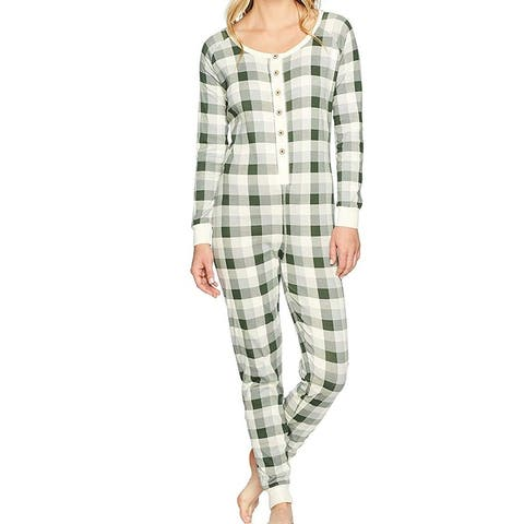 Burt's Bees Baby Womens Sleepwear Green Size Medium M One Piece Plaid