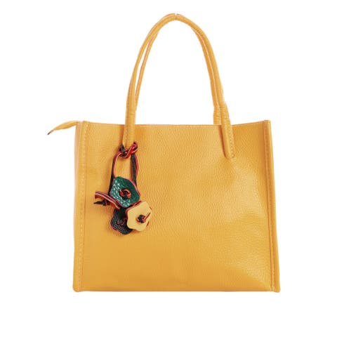 Women Color Block Flowers Decor Tote - Yellow