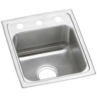 "Elkay PSR1517  Gourmet 15"" Single Basin 20-Gauge Stainless Steel Kitchen Sink for Drop In Installations"