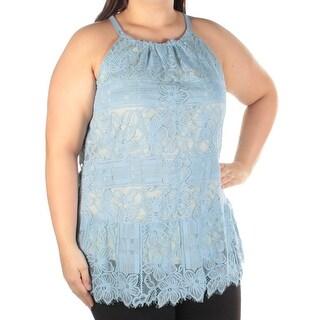 Womens Blue Sleeveless Halter Top Size 16