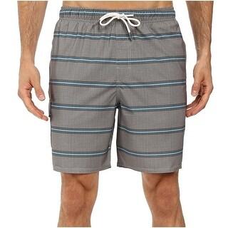 Quiksilver NEW Gray Mens Size 2XL Striped Drawstring Trunks Swimwear