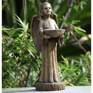 """15"""" Religious Wood Carved Angel Bird Feeder Outdoor Garden Figure"""