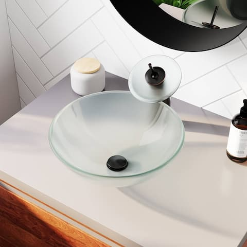 Frosted Glass Sink, Chrome Faucet, Sink Ring, and Pop-up Drain