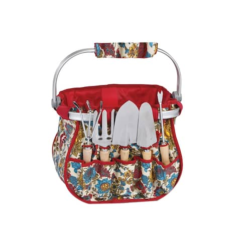 Picnic Plus Blossom Garden Tote Basket With Tool Set - Floribunda
