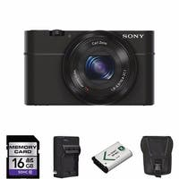 Sony Cyber-shot DSC-RX100 20.2MP Digital Camera 16GB Bundle (Black)