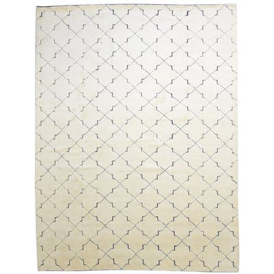 One of a Kind Hand-Knotted Modern 9' x 12' Trellis Wool Beige Rug - 9' x 12'