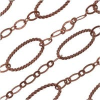 Antiqued Copper Long Short Rope Textured Oval Chain 13.5mm - Bulk By The Foot