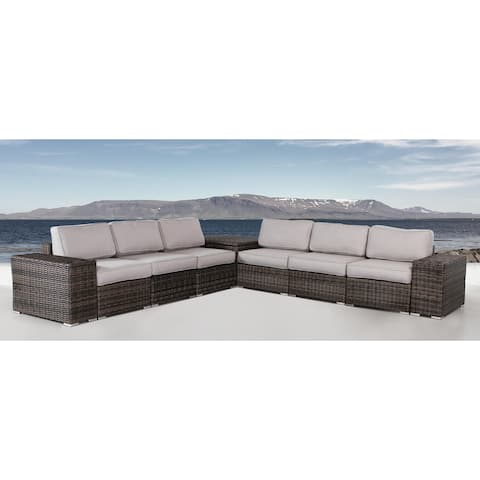 Resort Grade Storage Cup Table 9 Piece Rattan Sectional Seating Group