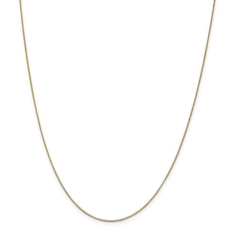 Curata 14k Yellow Gold Solid 0.7mm Box Chain Necklace (Lobster) Options: 16 18 20 22 24 26 28 30