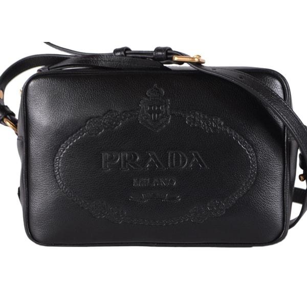Shop Prada 1bh089 Black Glace Leather Bandoliera Embossed Logo Camera Bag Purse On Sale Overstock 28368345