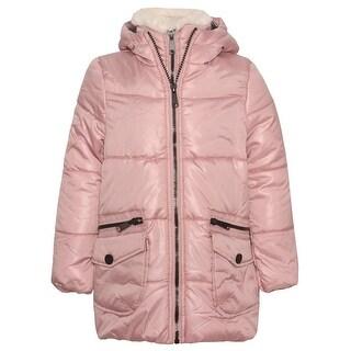 Urban Republic Girls Dusty Rose Zipper Closure Hooded Puffer Jacket