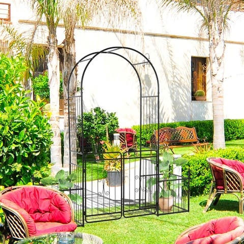Outsunny 7.2' Metal Garden Arbor Arch Gate with 2 Side Planter Boxes, Climbing Vine Frame, & Double Door Design
