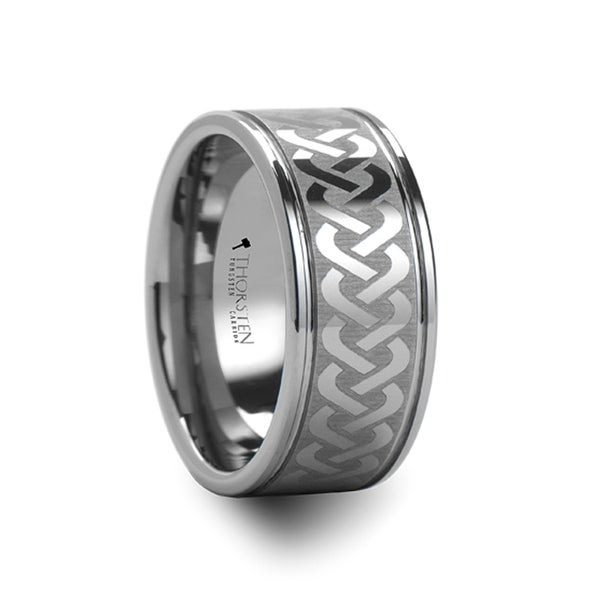 Thorsten Mckinney Celtic Knot Laser Engraved Tungsten Wedding Ring Wide 10mm