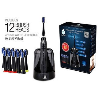 Pursonic S750BK Sonic SmartSeries RechargeableToothbrush with UV Sanitizer & 12 Brush Heads Black