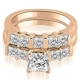 1.50 cttw. 14K Rose Gold Princess Cut Diamond Engagement Bridal Set