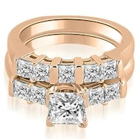 1.50 cttw. 14K Rose Gold Princess Cut Diamond Engagement Matching Bridal Set HI, SI1-2