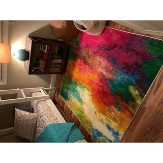 "Safavieh Watercolor Orange/ Green Rug - 5'3"" x 5'3"" Square"