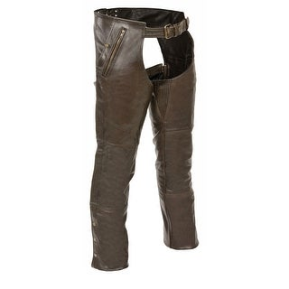 Mens Retro Leather 4 Pocket Thermal Lined Chaps (More options available)