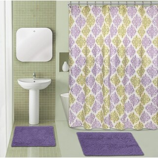 Bliss Spa Chenille Noodle 15-Piece Bath Rug Set, Diamond Medallion, Purple