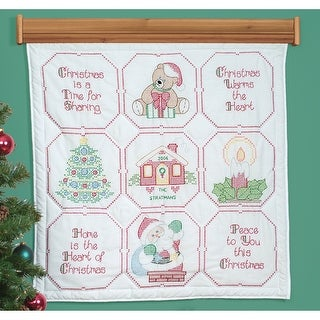 """Stamped White Wall Or Lap Quilt 36""""X36""""-Christmas Blessing"""