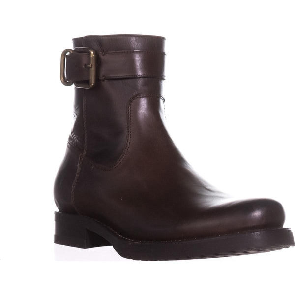 FRYE Veronica Strap Zip Short Ankle Boots, Chocolate