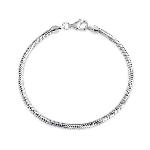 Bling Jewelry Sterling Silver Snake Chain Bracelet 3mm for European Charms Bead