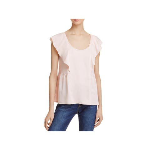 French Connection Womens Nia Blouse Ruffled Scoop Neck