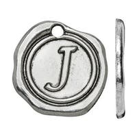 Lead-Free Pewter, Alphabet Charm Letter 'J' 18.5x19.5mm, 1 Piece, Antiqued Silver