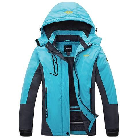WANTDO Blue Women Large L Waterproof Ski Windbreaker Rain Jacket