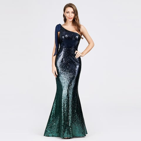Ever-Pretty Womens Sequin Sexy Bodycon One Shoulder Formal Evening Prom Gown 07336