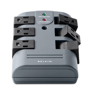 Belkin 6-Outlet Pivot-Plug Wall Mount Power Strip Surge Protector, 1080 Joules - grey