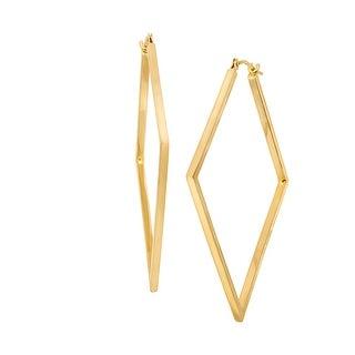 Just Gold Open Diamond-Shape Hoop Earrings in 14K Gold - YELLOW