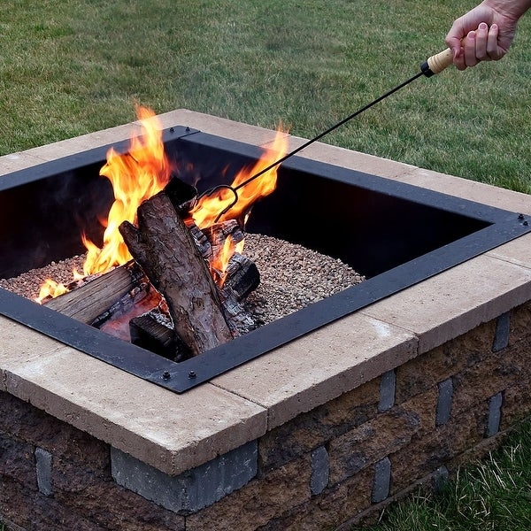 Sunnydaze Steel Camping Fireplace Fire Pit Poker with Wood Handle - 26-Inch