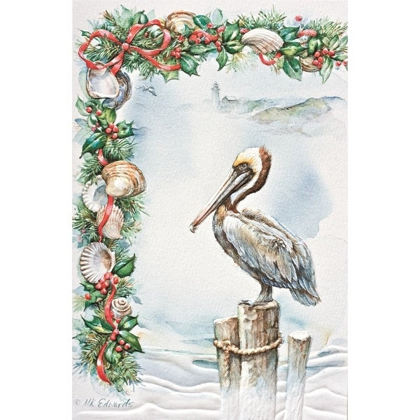Pelican on Pier Pilings Sculpted Embossed 16 Boxed Holiday Cards and Envelopes