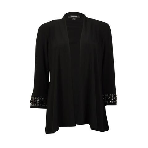 R & M Richards Women's Beaded Sleeve Shrug - Black - S