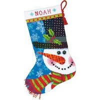 """16"""" Long Stitched In Wool & Thread - Patterned Snowman Stocking Needlepoint Kit"""