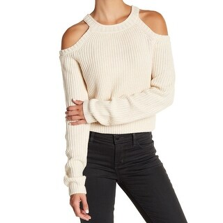 Elodie Beige Womens Size XL Cold-Shoulder Crewneck Knitted Sweater