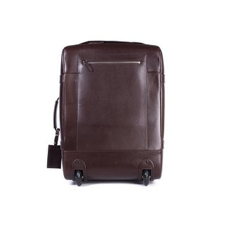 Brunello Cucinelli Men's Brown Leather Trolley Suitcase Bag