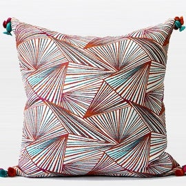 "G Home Collection Luxury Orange Changing Geometric Pattern Tassels Pillow 20""X20"""