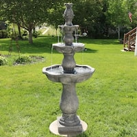Sunnydaze Turtle Shell Pineapple 3 Tier Outdoor Water Fountain 58 Inch Tall