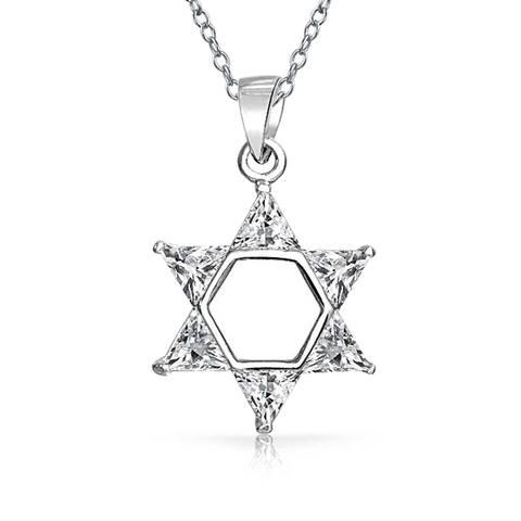 Hanukkah Star Of David Magen Jewish Pendant Clear Trillion Cubic Zirconia CZ Necklace For Women 925 Sterling Silver